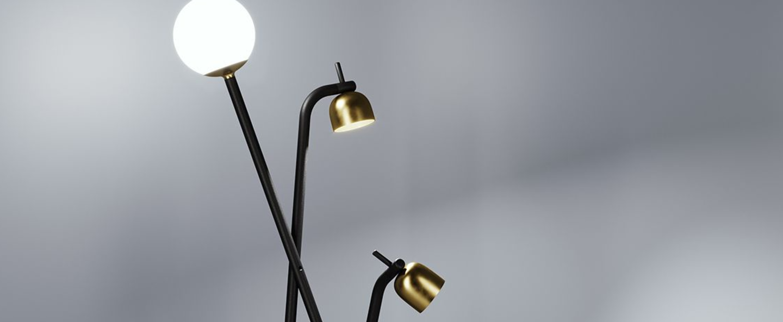 Lampadaire tripod noir et or o54 5cm h173cm fontana arte normal