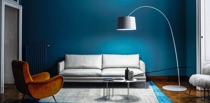 Lampadaire twiggy blanc dimmable l60cm h195cm foscarini normal