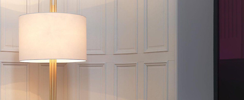 Lampadaire upper blanc et laiton o60cm h200cm cvl normal