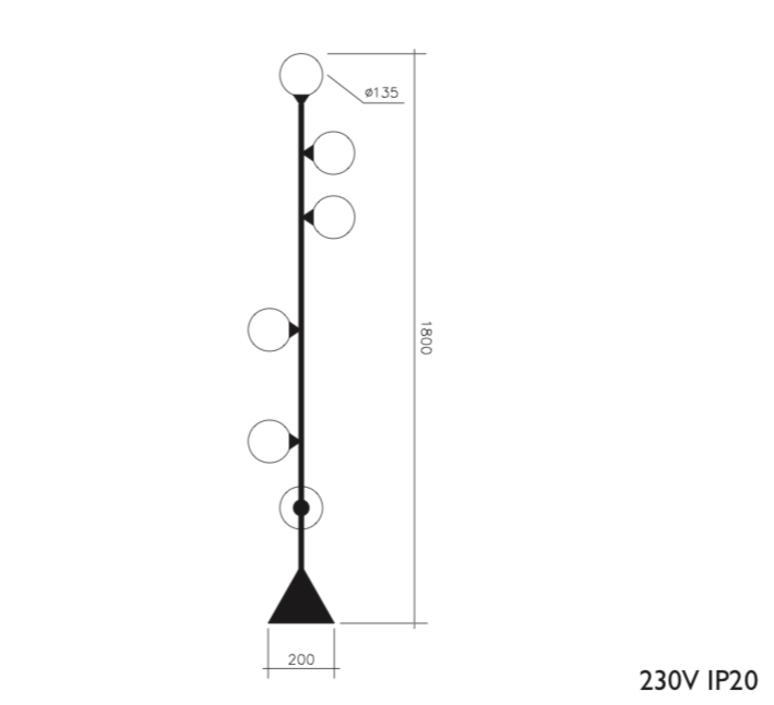 Vertical 1 gwendolyn et guillane kerschbaumer lampadaire floor light  areti vertical globe noir  design signed nedgis 64080 product
