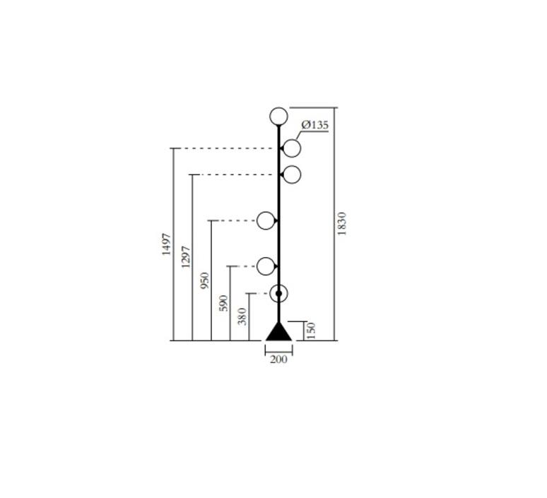 Vertical globe 071 gwendolyn et guillane kerschbaumer lampadaire floor light  atelier areti 071ol f01 br01  design signed nedgis 114743 product