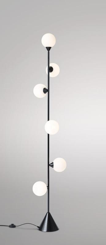 Lampadaire vertical globe noir o20cm h180cm atelier areti normal
