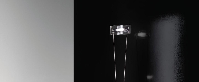Lampadaire vittoria tr 1 c transparent chrome l34cm h180cm leucos normal