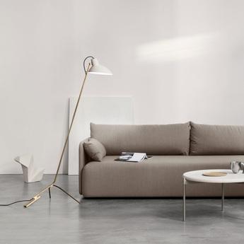 Lampadaire vv cinquanta blanc et laiton o27 4cm h147cm astep normal