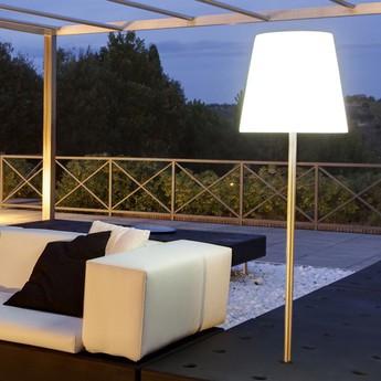 Lampdaire d exterieur ali baba fiaccola blanc h165cm slide normal