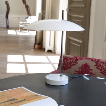 Lampe a poser 1013 tige chrome blanc o33cm h39 7cm disderot normal