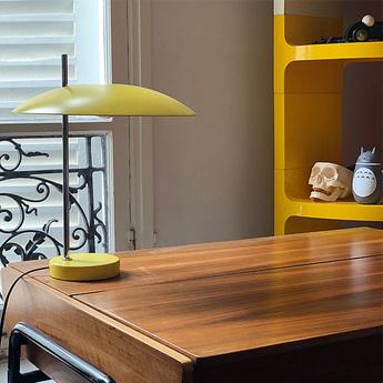 Lampe a poser 1013 tige chrome jaune o33cm h39 7cm disderot normal