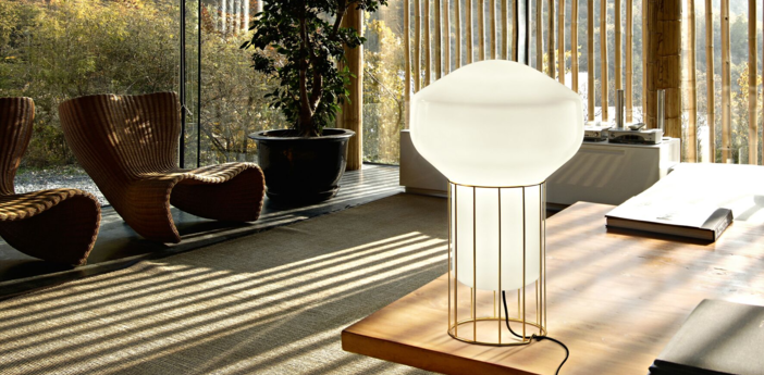 Lampe a poser aerostat f27 blanc laiton o22 8cm h37cm fabbian normal