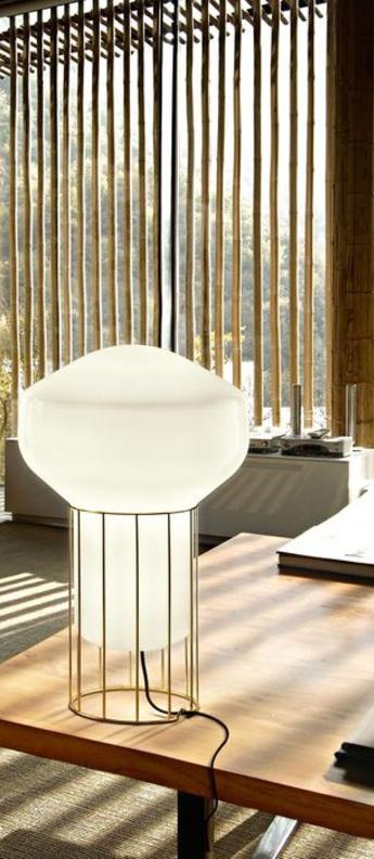Lampe a poser aerostat f27 blanc laiton o33cm h53cm fabbian normal