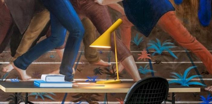 Lampe a poser aj jaune l21 5cm h56cm louis poulsen normal