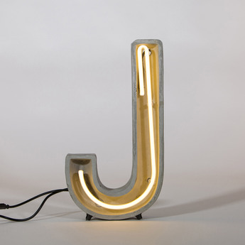 Lampe a poser alphacrete j gris blanc cm h40cm seletti normal