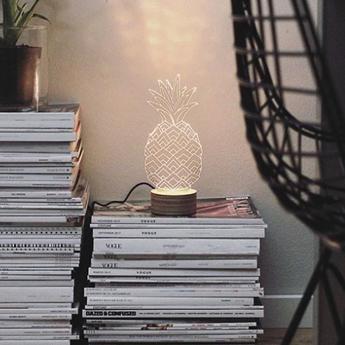 Lampe a poser ananas blanc l15cm h23cm studio cheha normal