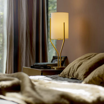 Lampe a poser arborescence s blanc et laiton o20cm h65cm cvl normal