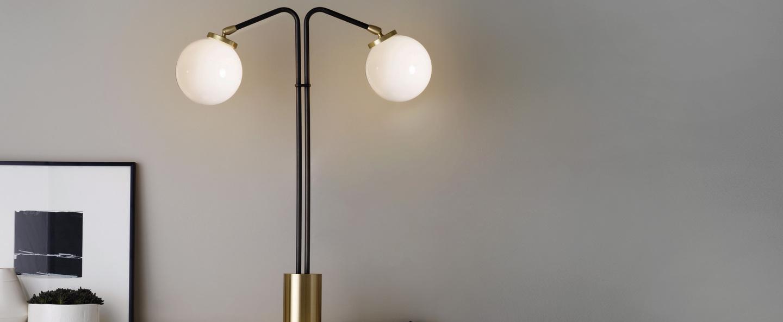 Lampe a poser array twin opalin laiton bronze o41cm h60cm cto lighting normal