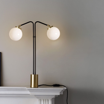 Lampe a poser array twin opalin laiton bronze o41cm h60cm cto lighting normal
