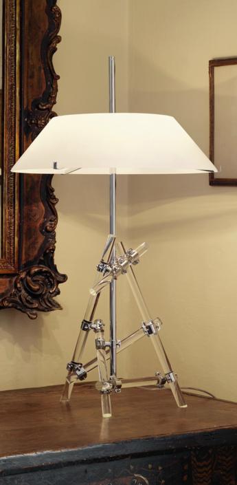 Lampe a poser ashanghai blanc chrome h77cm fontana arte normal