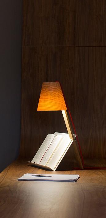 Lampe a poser asterisco bois naturel de cerisier h43cm lzf normal