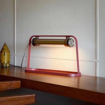 Lampe a poser astrup rouge marsala or led l60cm h35cm sammode normal