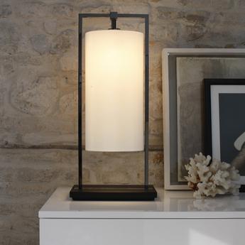 Lampe a poser athena porcelaine blanc l27 5cm h60cm contardi normal