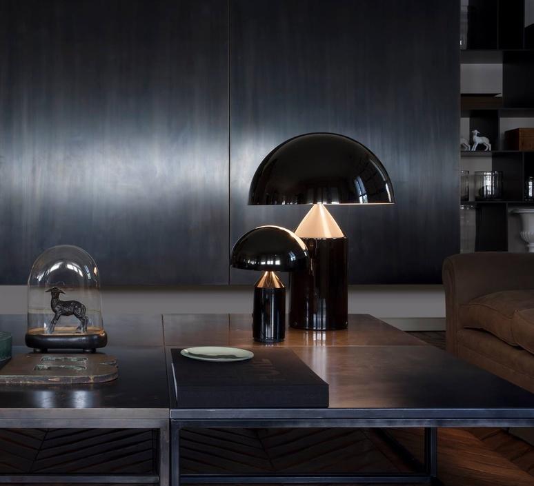 Lampe poser atollo noir h35cm oluce luminaires nedgis for Imitazioni lampade design