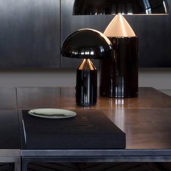 Lampe a poser atollo noir h35cm oluce normal