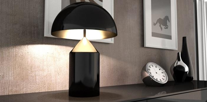 Lampe a poser atollo noir h70cm oluce normal