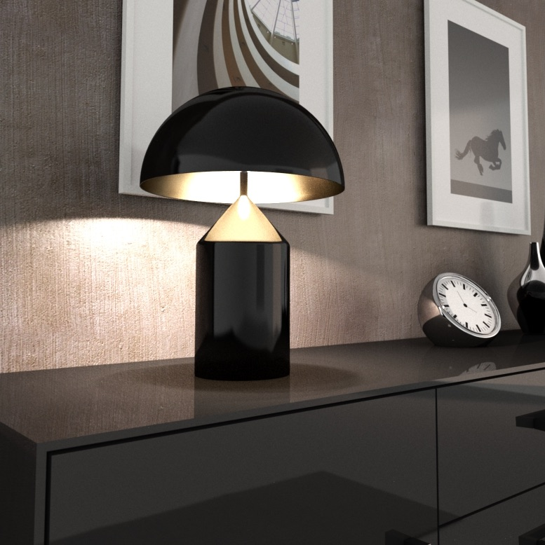 lampe poser atollo noir h70cm oluce luminaires nedgis. Black Bedroom Furniture Sets. Home Design Ideas