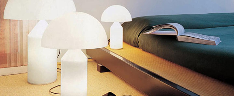 Lampe a poser atollo opalin opaque h35cm oluce normal