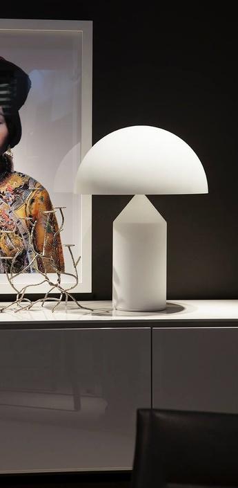 Lampe a poser atollo opalin opaque h50cm oluce normal