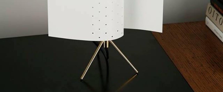 Lampe a poser b207 blanc h39cm lignes de demarcation normal