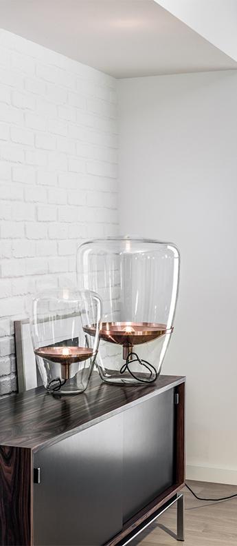 Lampe a poser balloons small verre transparent reflecteur cuivre cable noir o28 5cm h40cm brokis normal
