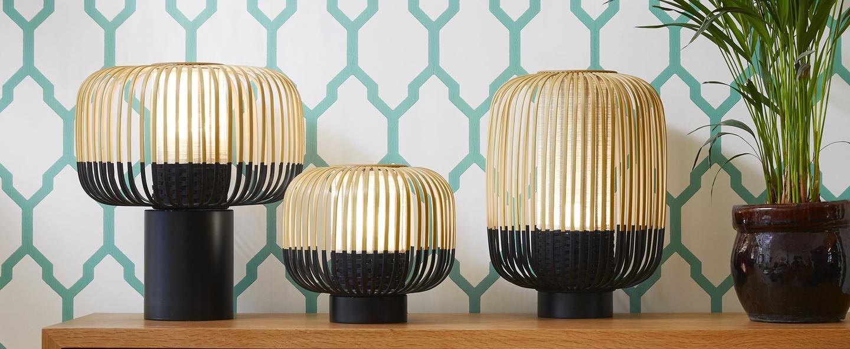 Lampe a poser bamboo light bambou noir h39cm forestier normal