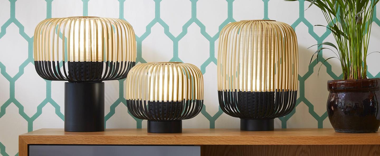 Lampe a poser bamboo light bambou noir h40cm forestier normal