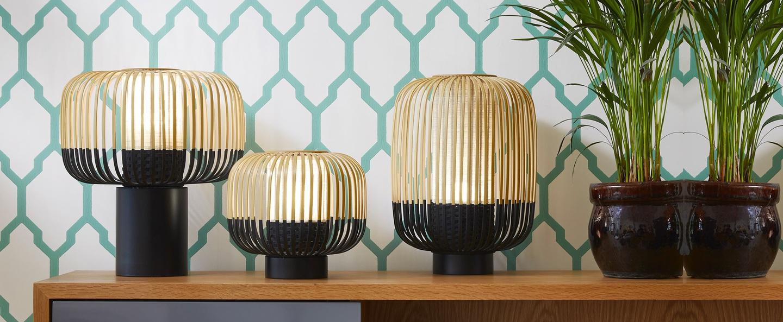 Lampe a poser bamboo light bambou noir o27cm h24cm forestier normal