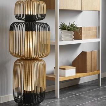 Lampe a poser bamboo light totem noir o45cm h118cm forestier normal