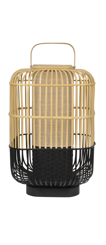 Lampe a poser bamboo square l noir o38cm h65 5cm forestier normal