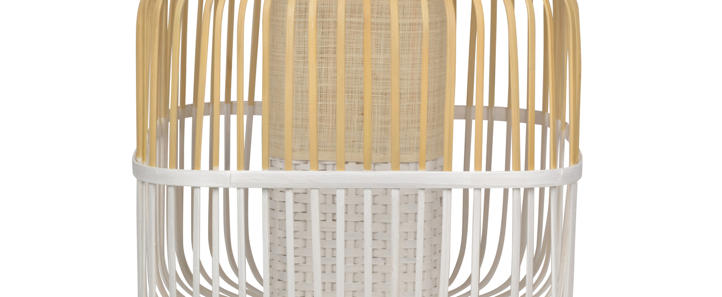 Lampe a poser bamboo square m blanc o43cm h56cm forestier normal