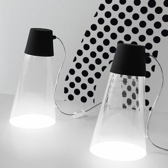 Lampe a poser beam transparent noir h37cm martinelli luce normal