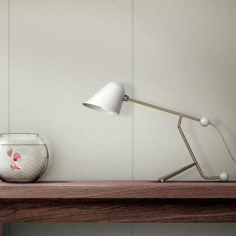 Lampe a poser beghina blanc brillant laiton led 3000k 200lm l22cm h41cm tato italia normal
