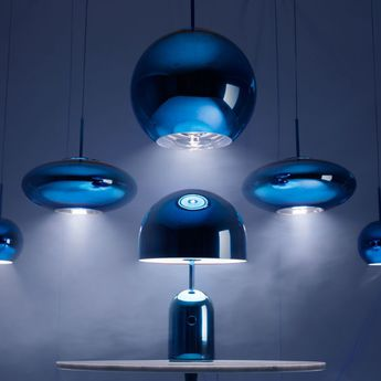 Lampe a poser bell large bleu o40cm h60cm tom dixon normal