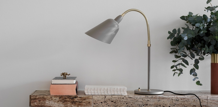 Lampe a poser bellevue gris laiton h42cm andtradition normal