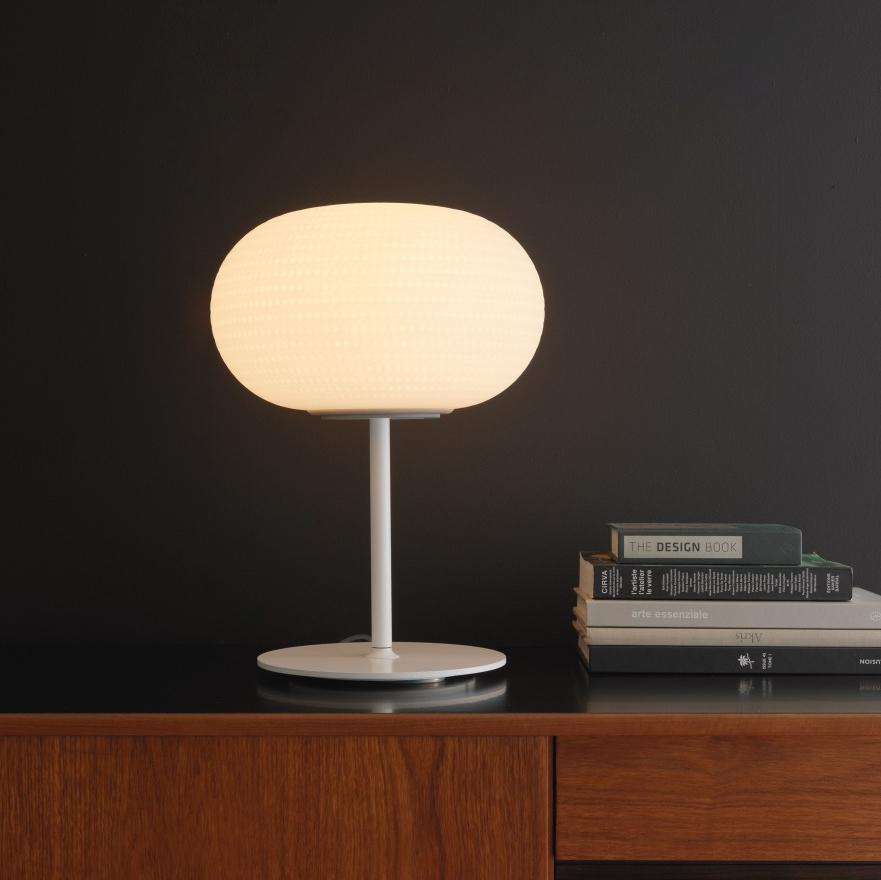 lampe poser bianca led blanc h41 6cm fontana arte luminaires nedgis. Black Bedroom Furniture Sets. Home Design Ideas