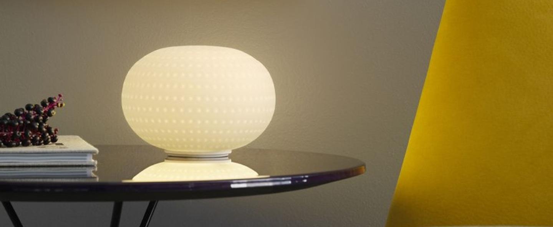 Lampe a poser bianca led blanc o16cm fontana arte normal