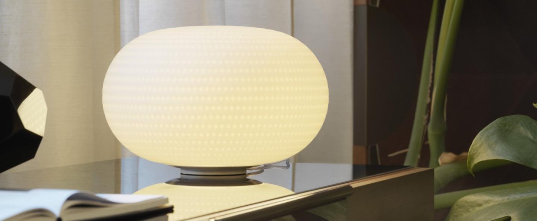 Lampe a poser bianca led blanc o30cm fontana arte normal
