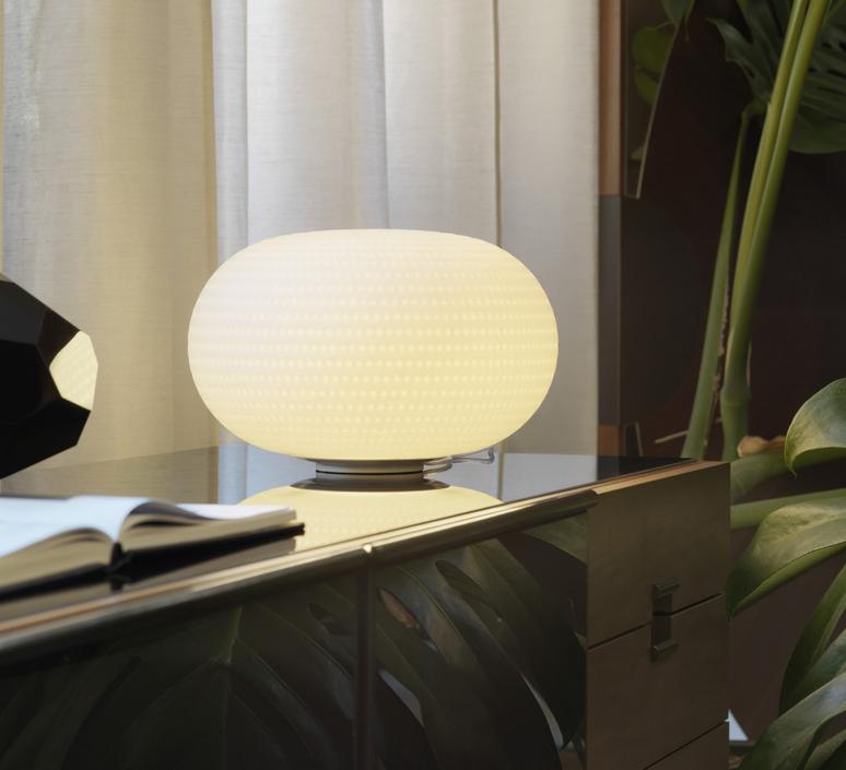 lampe poser bianca led blanc 30cm fontana arte luminaires nedgis. Black Bedroom Furniture Sets. Home Design Ideas