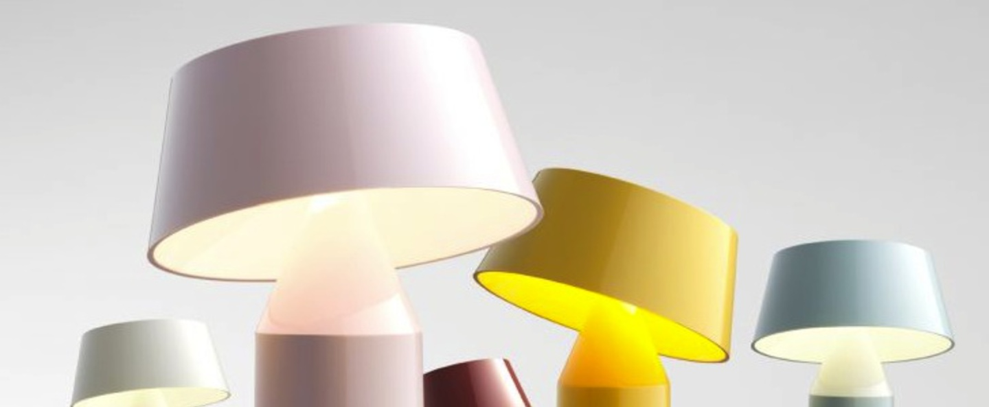 Lampe a poser bicoca led dimmable rose pale h22 5cm marset normal