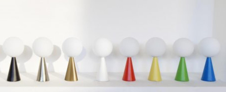 Lampe a poser bilia blanc laiton o12cm h26cm fontana arte normal