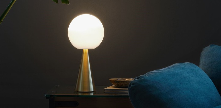 Lampe a poser bilia laiton diam 20cm h43cm led 9w fontana arte normal