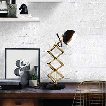 Lampe a poser billy noir et or h60cm delightfull normal