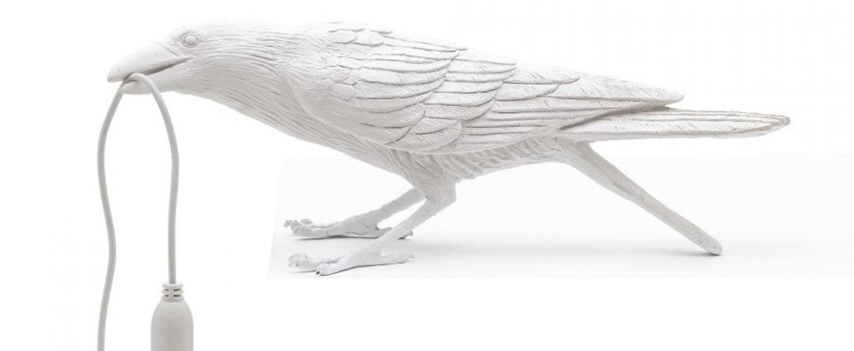 Lampe a poser bird corbeau playing blanc 2200k 120lm l33 5cm h10 5cm seletti normal